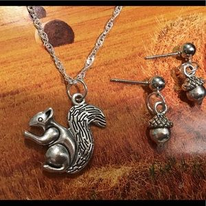 Squirrel 925 silver necklace ripple fall gift new